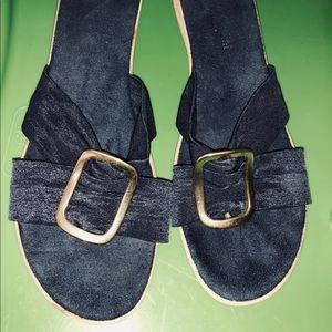 Shoes - Navy Blue size 10 Slip-On wedge sandal